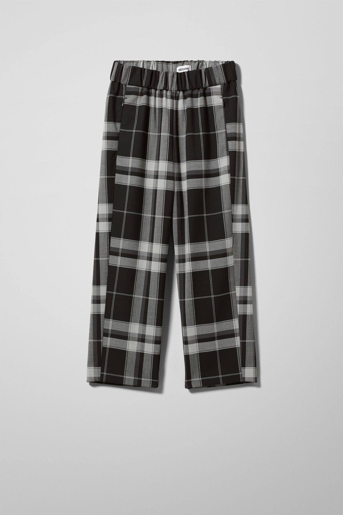 Front image of Weekday amelia woven trousers in black