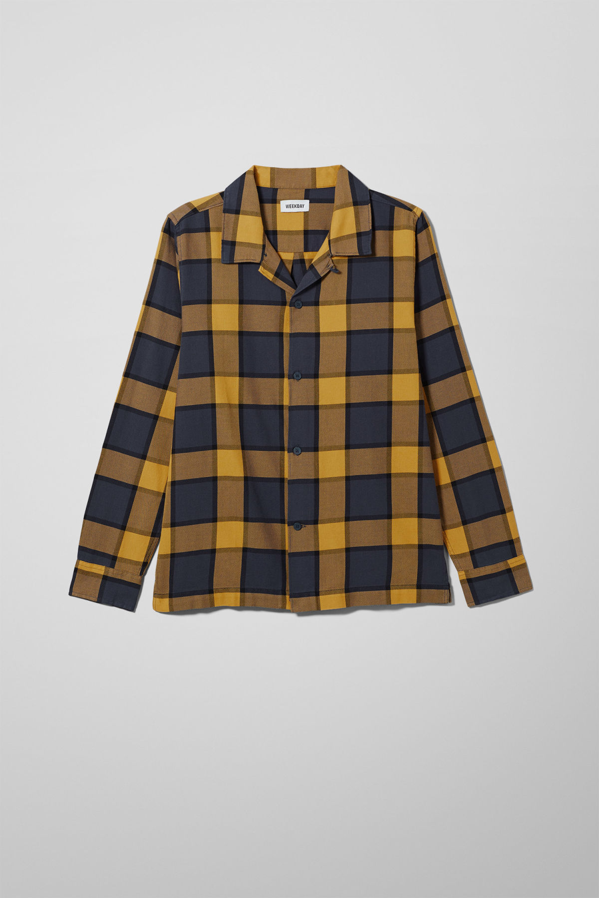 Front image of Weekday malte check shirt in blue