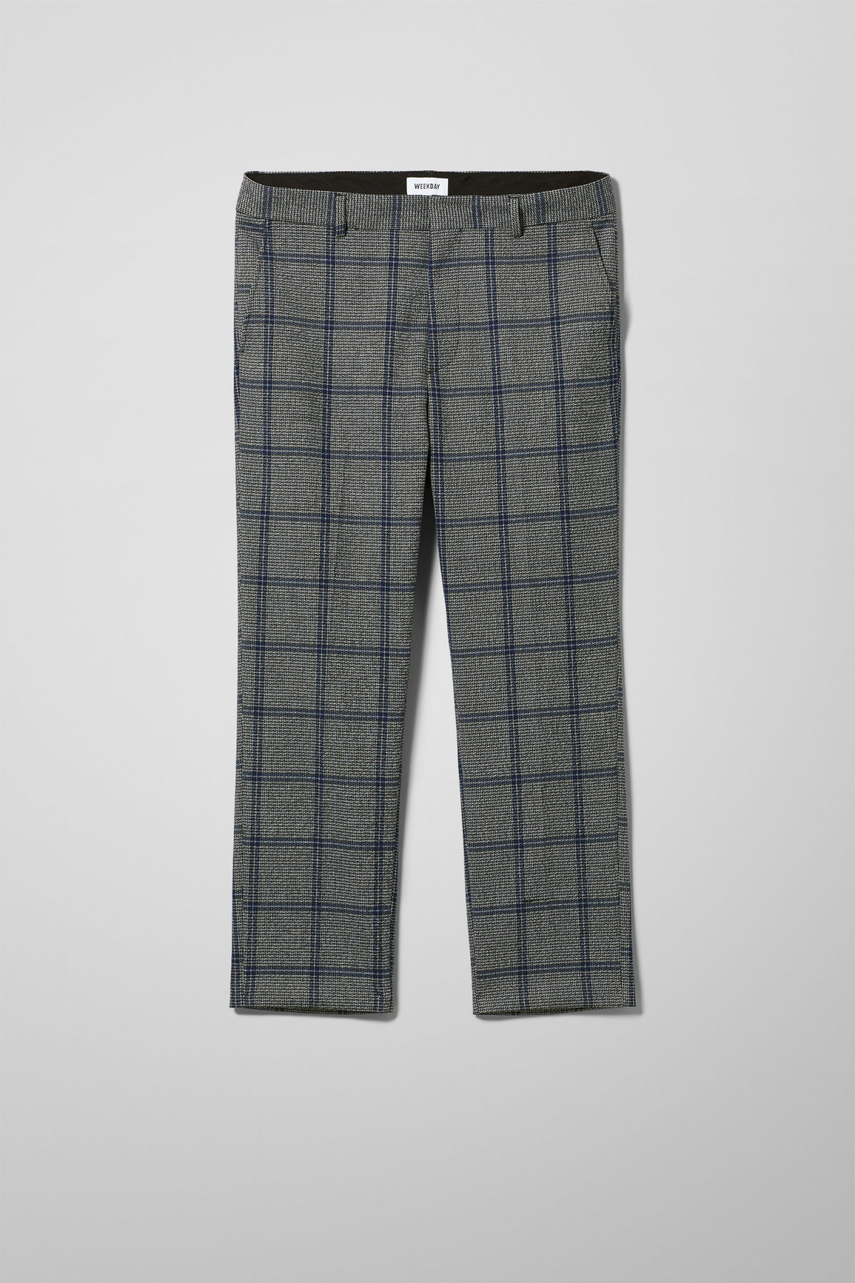 Front image of Weekday charlie checked trousers  in black