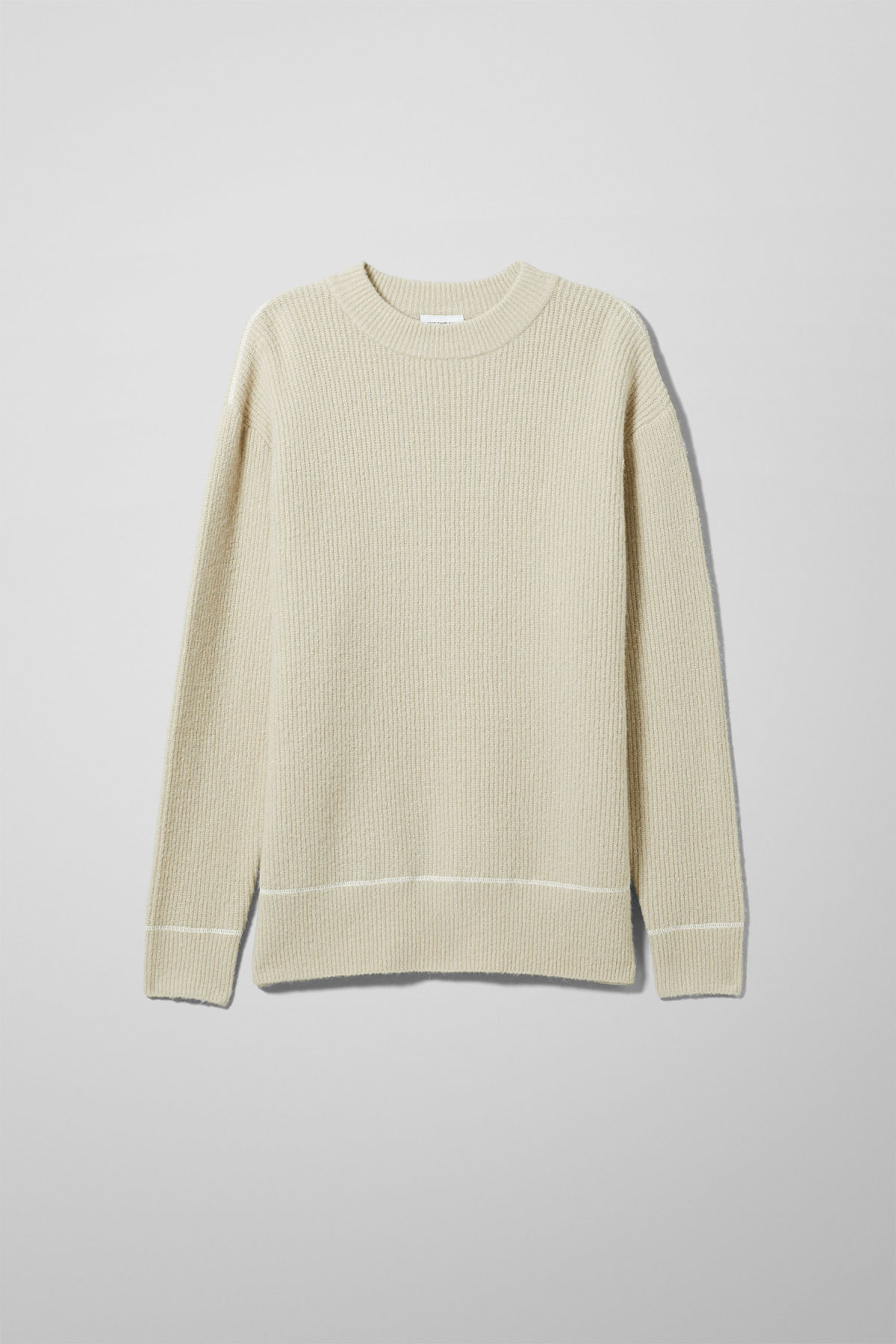 Front image of Weekday marco sweater in beige
