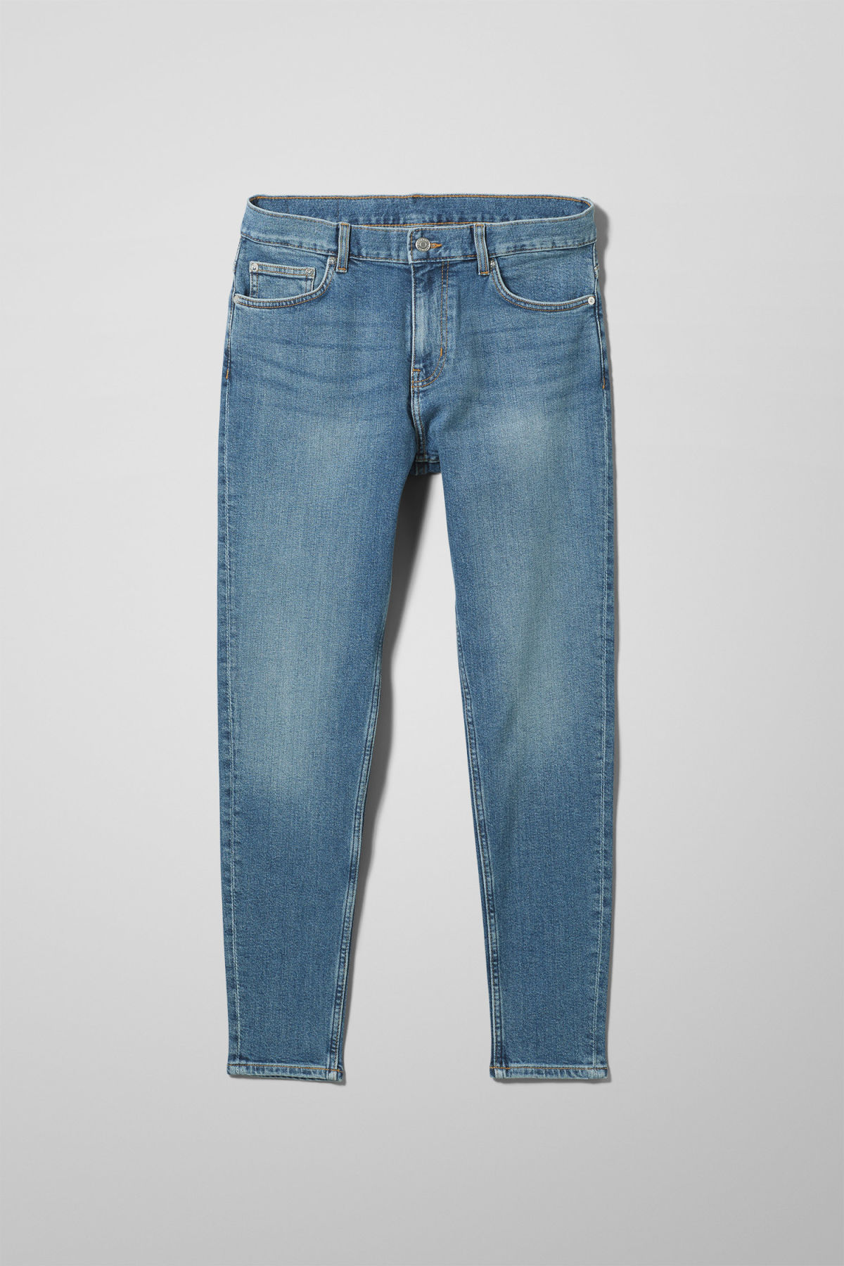 Front image of Weekday cone marfa blue jeans in blue