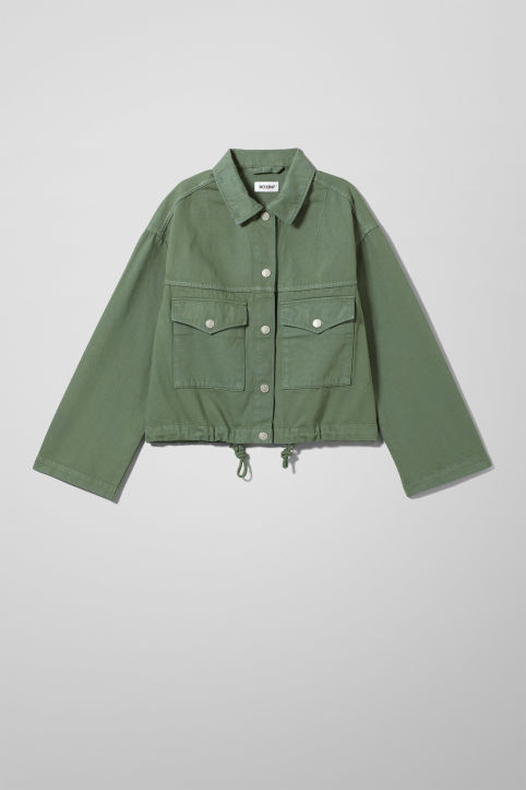 Weekday Base Green Denim Jacket
