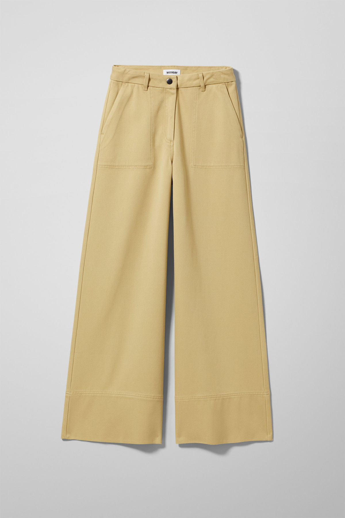 Front image of Weekday kim trousers in yellow