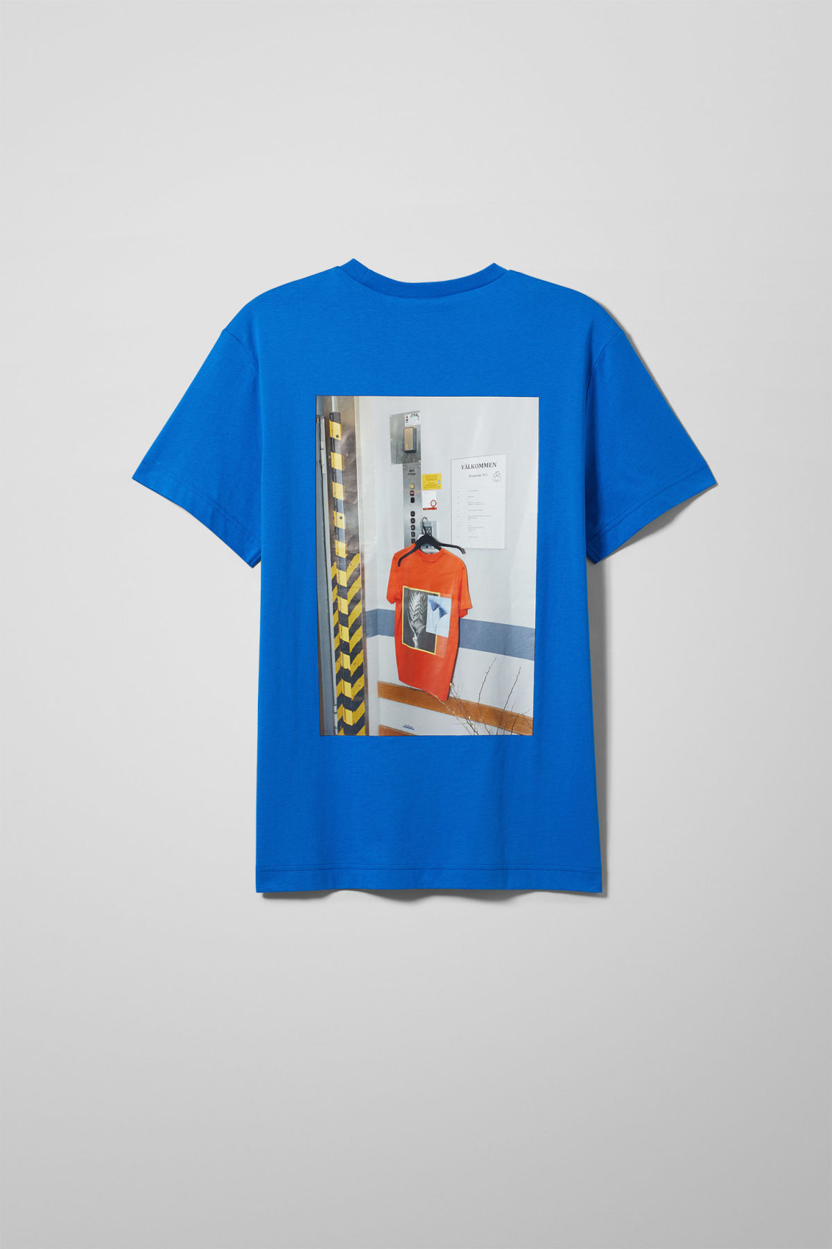 Back image of Weekday billy bloss t-shirt in blue