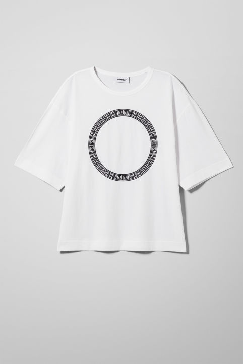 Front image of Weekday terra t-shirt in white