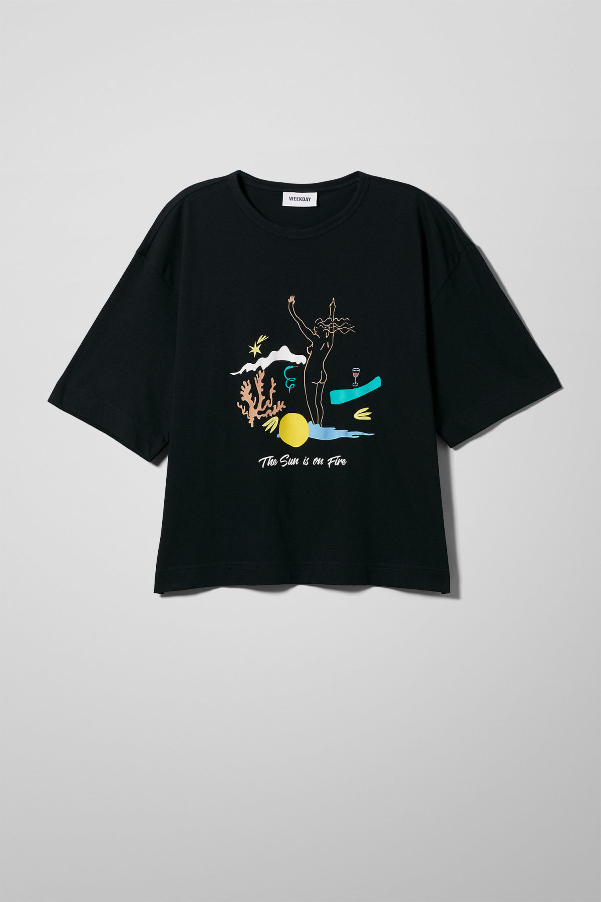 Front image of Weekday terra t-shirt in black