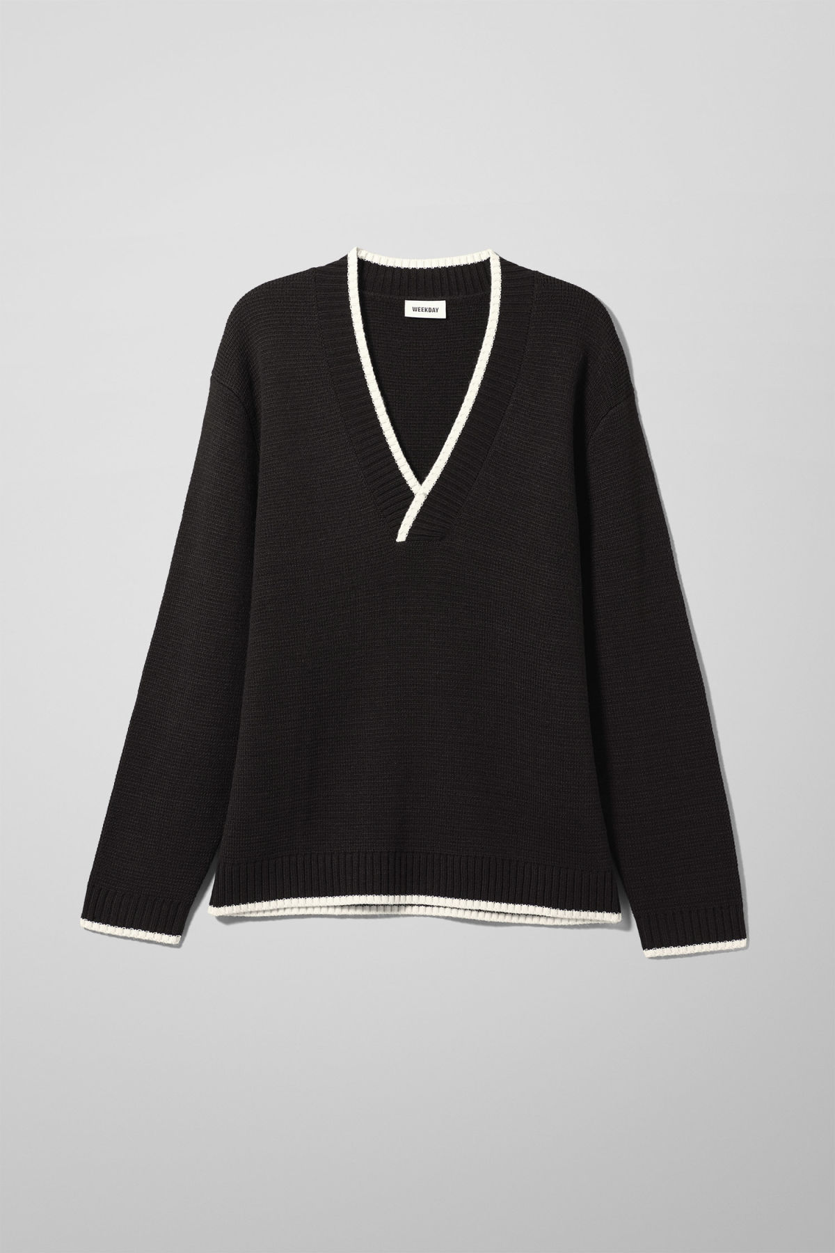 Front image of Weekday per v-neck sweater in black