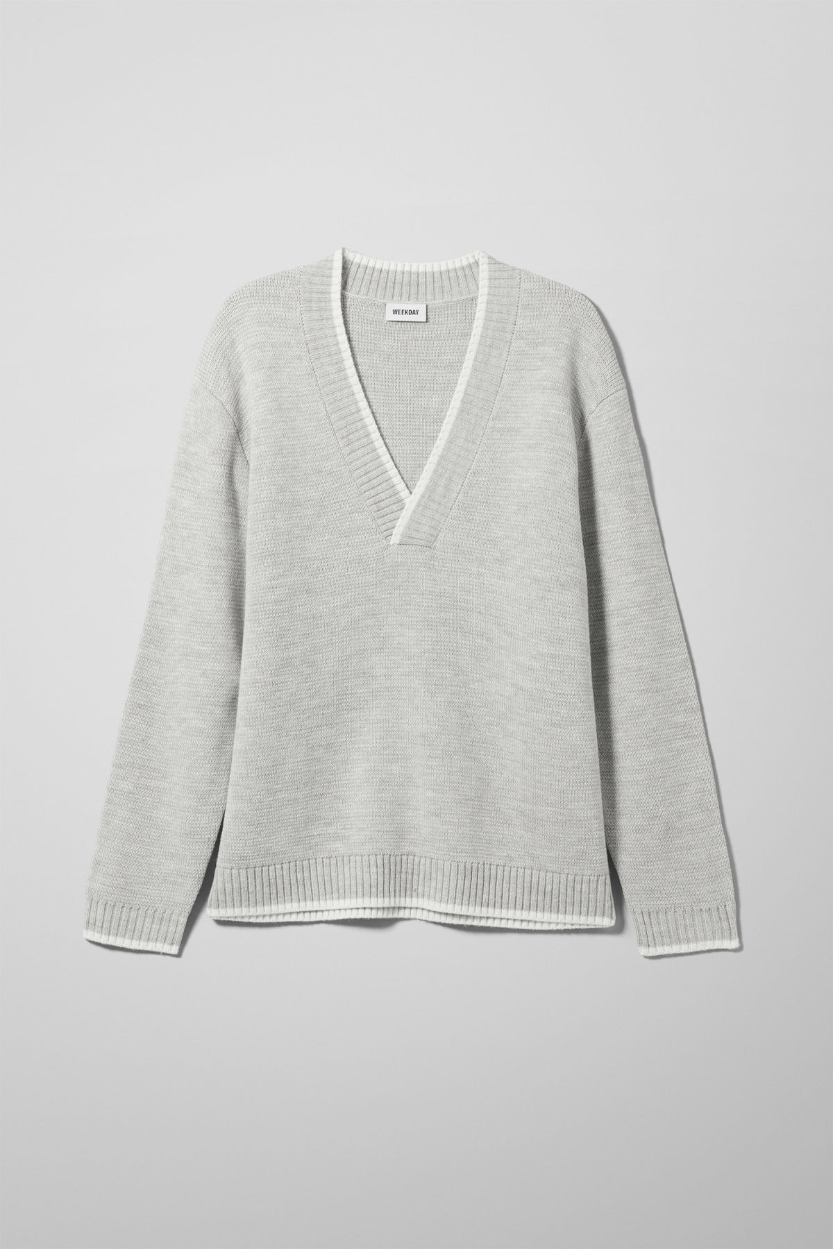 Front image of Weekday per v-neck sweater in grey