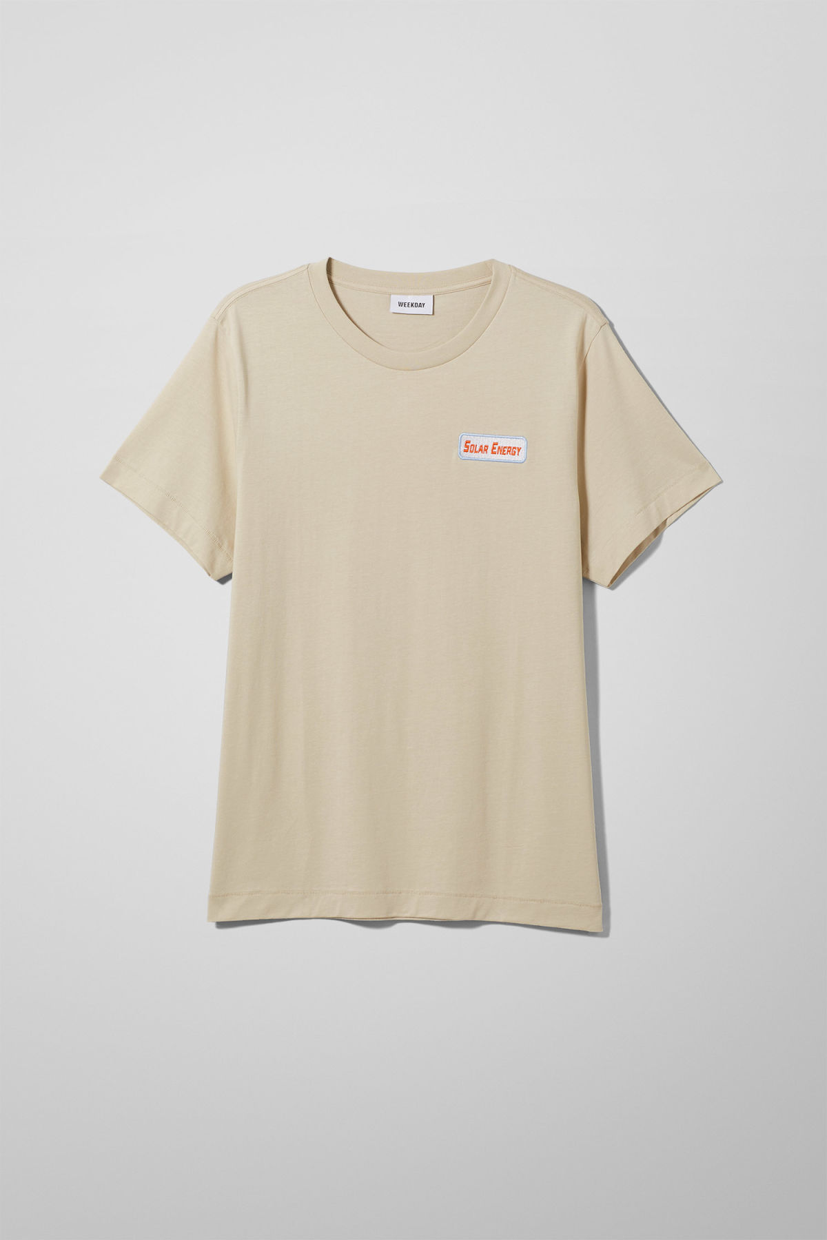 Front image of Weekday pictor solar t-shirt in beige