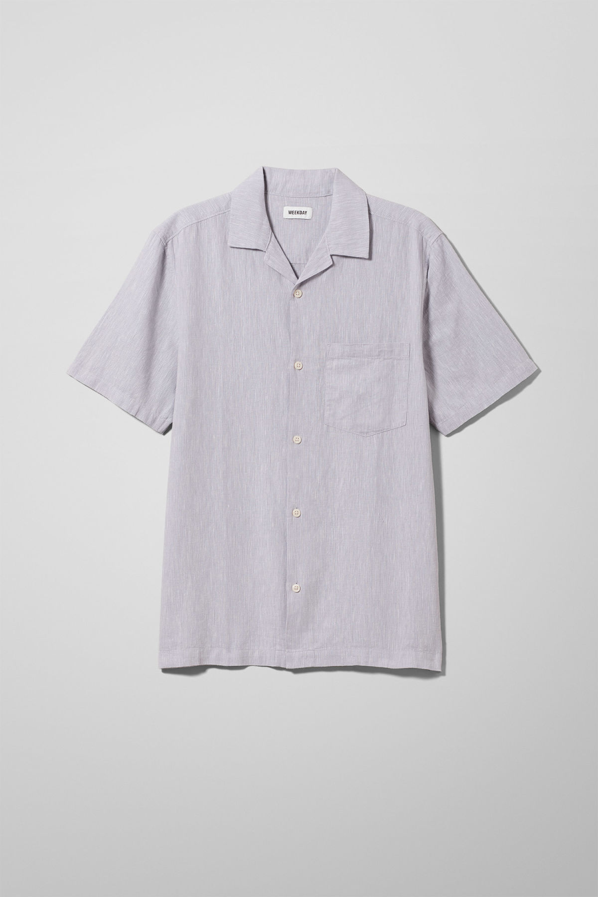 Front image of Weekday chill striped short sleeve shirt in purple