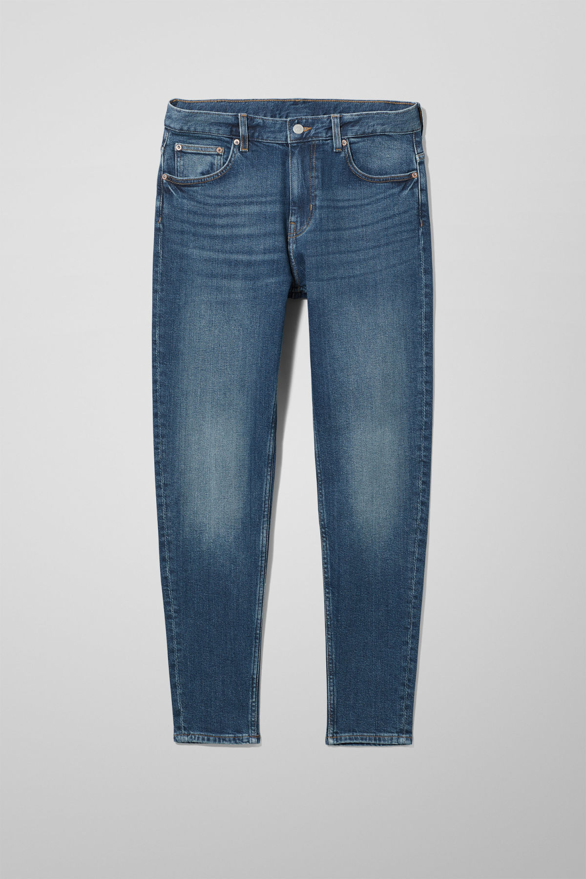 Front image of Weekday cone slub blue jeans in blue