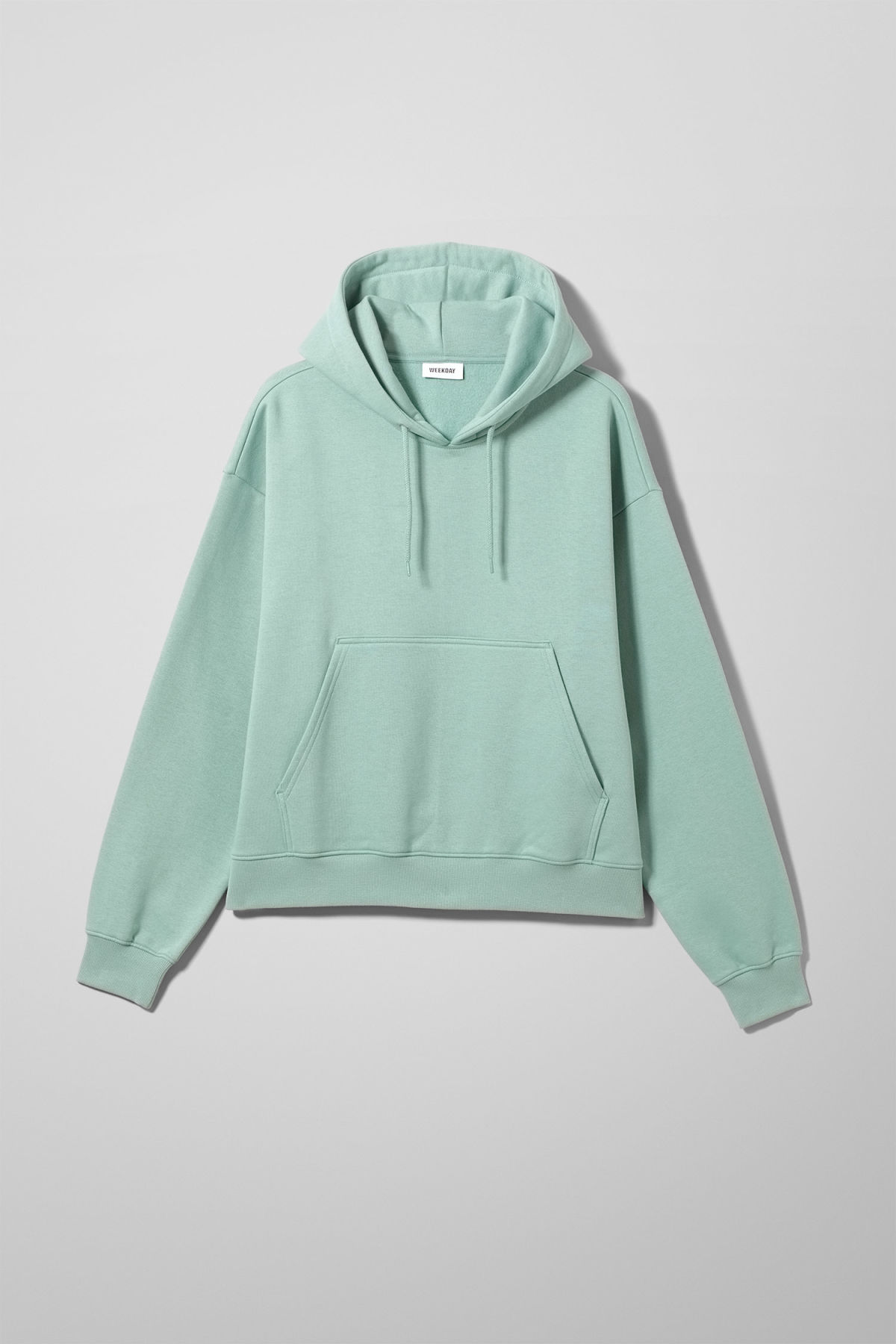 Front image of Weekday bird hoodie in turquoise