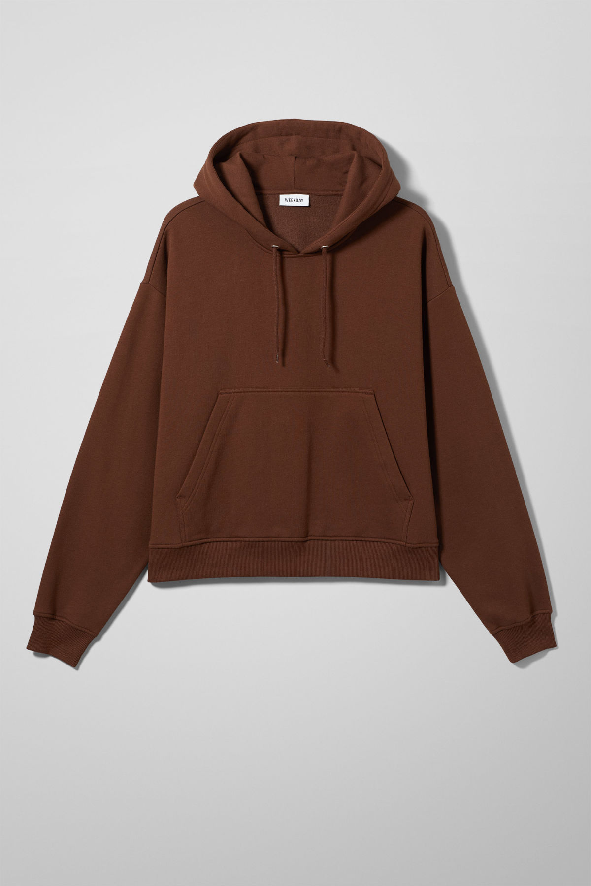 Front image of Weekday bird hoodie in beige