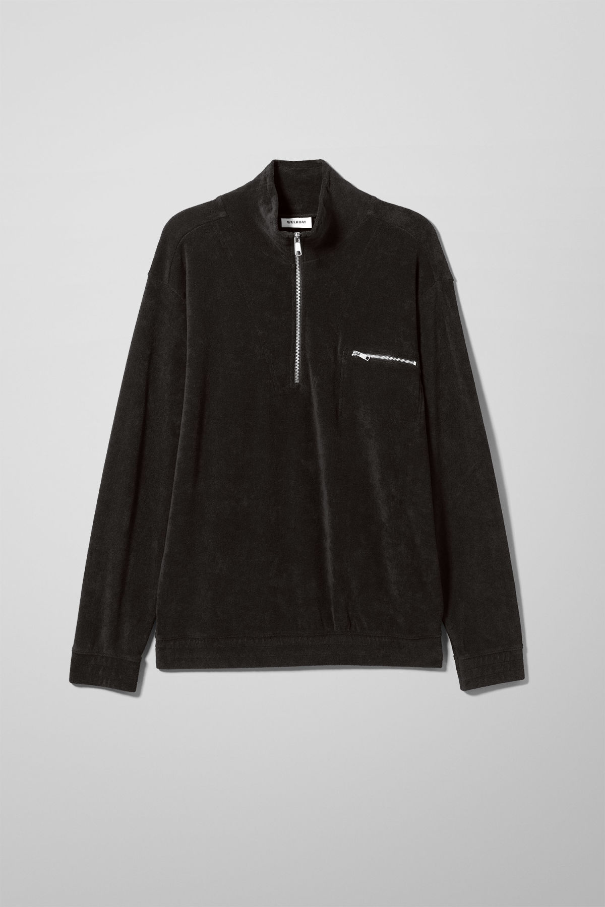 Front image of Weekday terry halfzip sweatshirt in black
