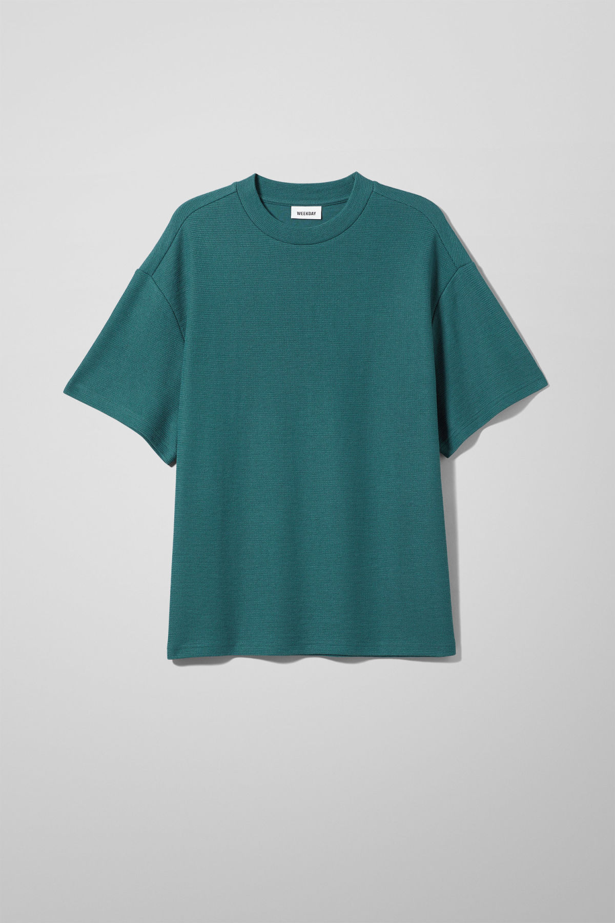 Front image of Weekday grand t-shirt in turquoise