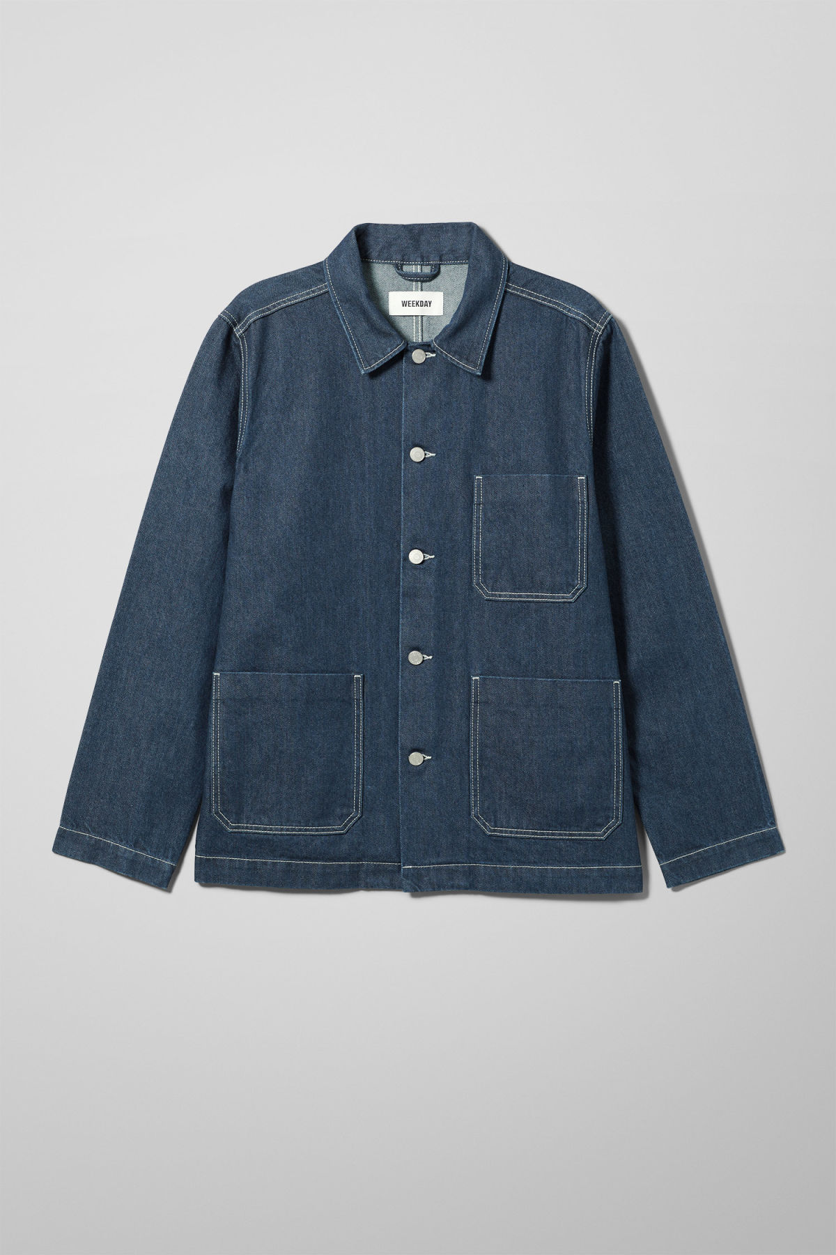 Front image of Weekday generic rinse jacket in blue