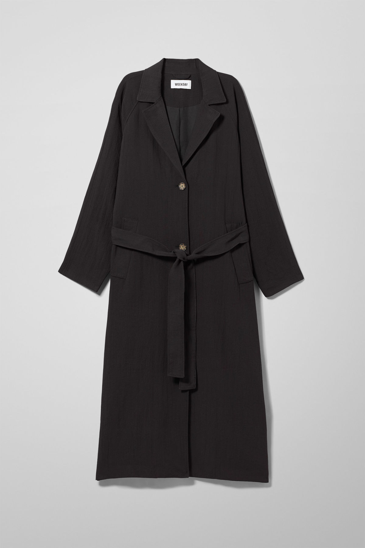 Front image of Weekday amaya trench coat in black