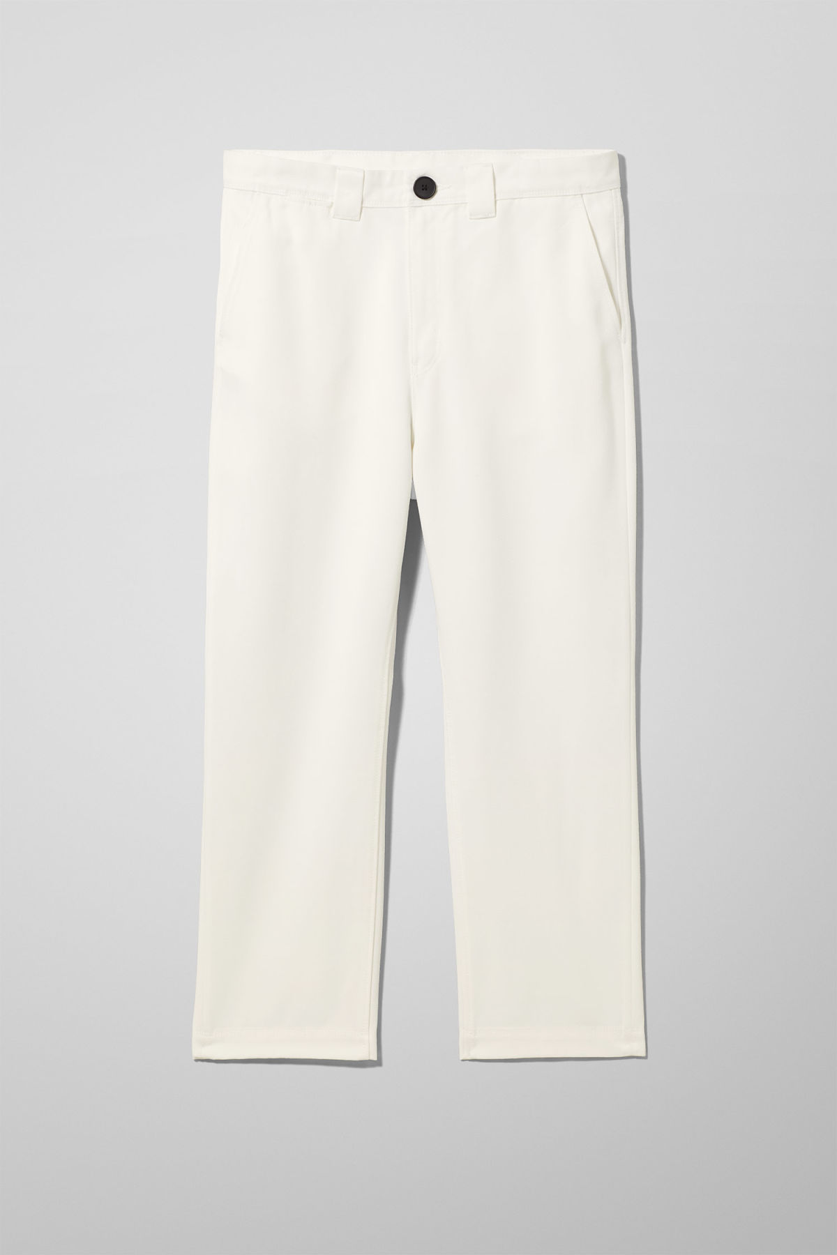 Front image of Weekday tilo trousers in white