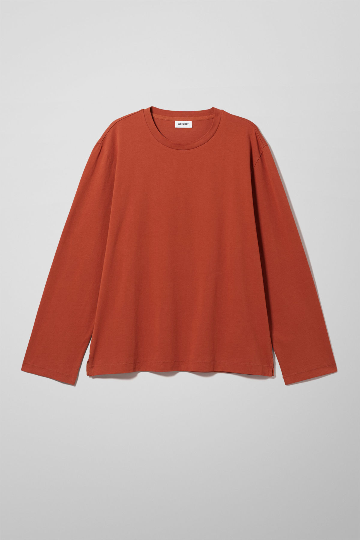 Front image of Weekday chem long sleeve in orange