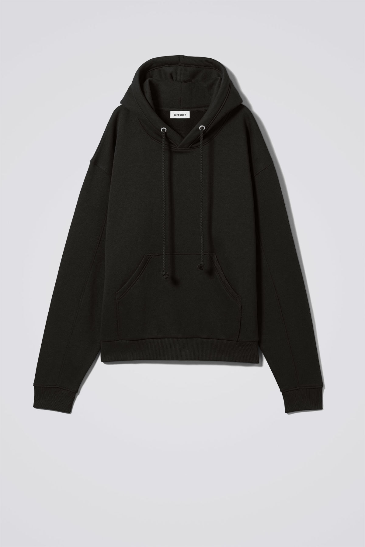 Front image of Weekday ailin hooded sweatshirt in black
