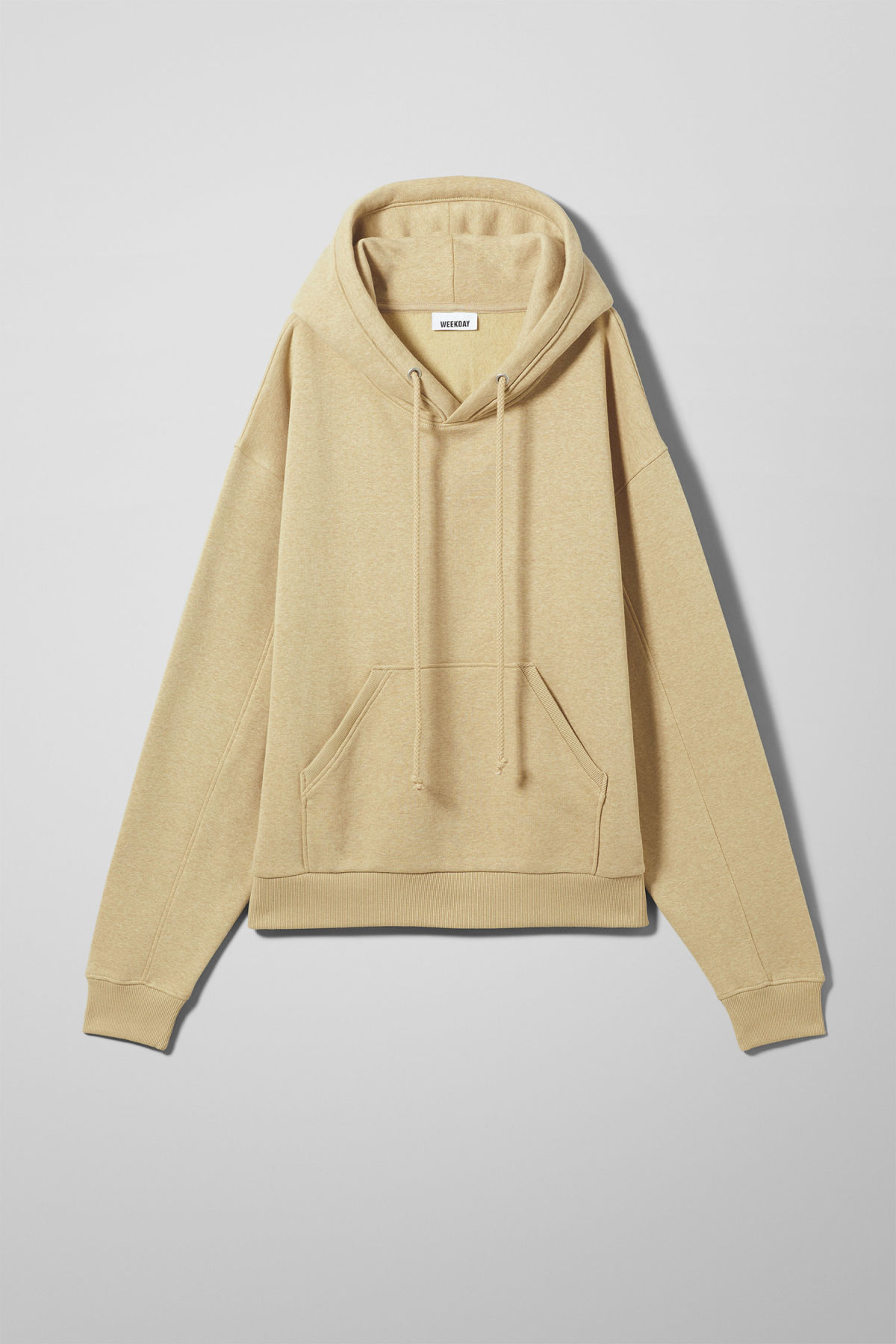 Front image of Weekday ailin hooded sweatshirt in beige