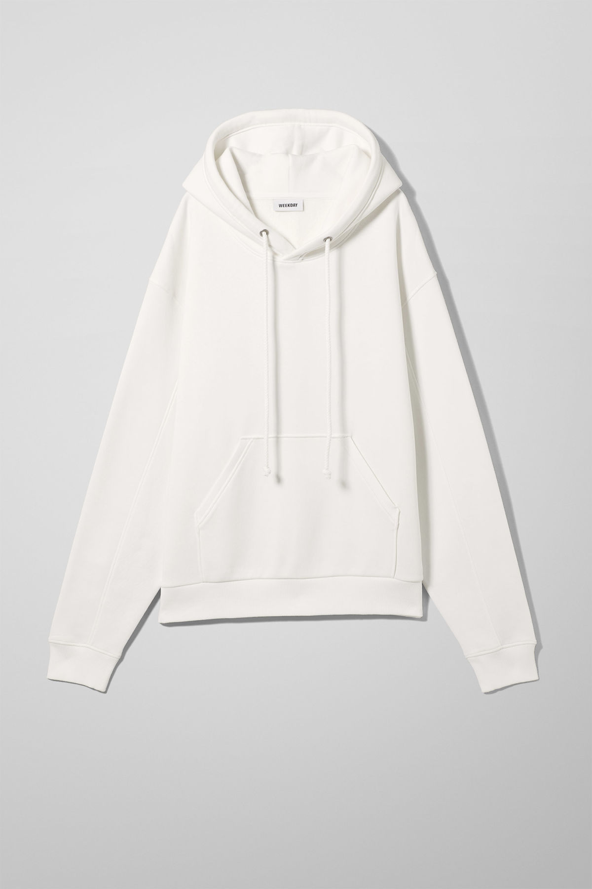 Front image of Weekday ailin hooded sweatshirt in white
