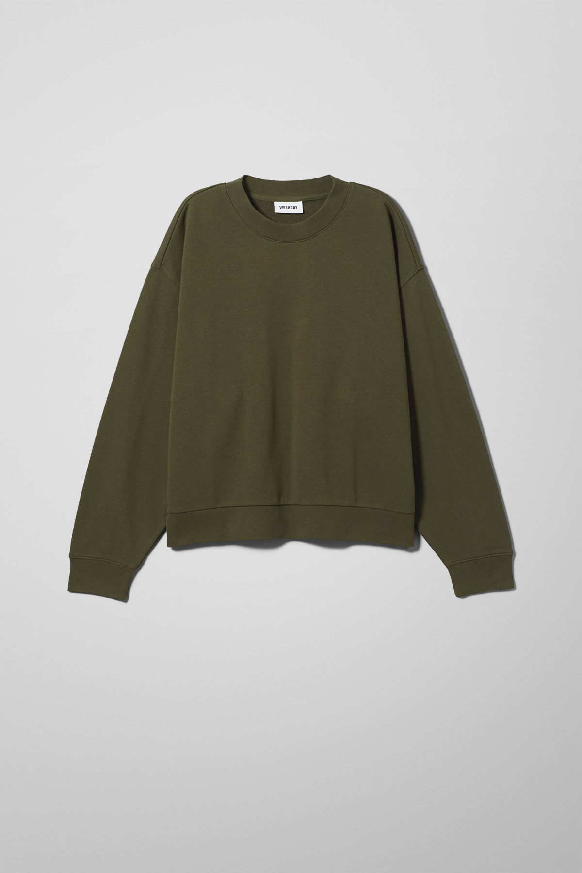 Front image of Weekday huge cropped sweatshirt  in green