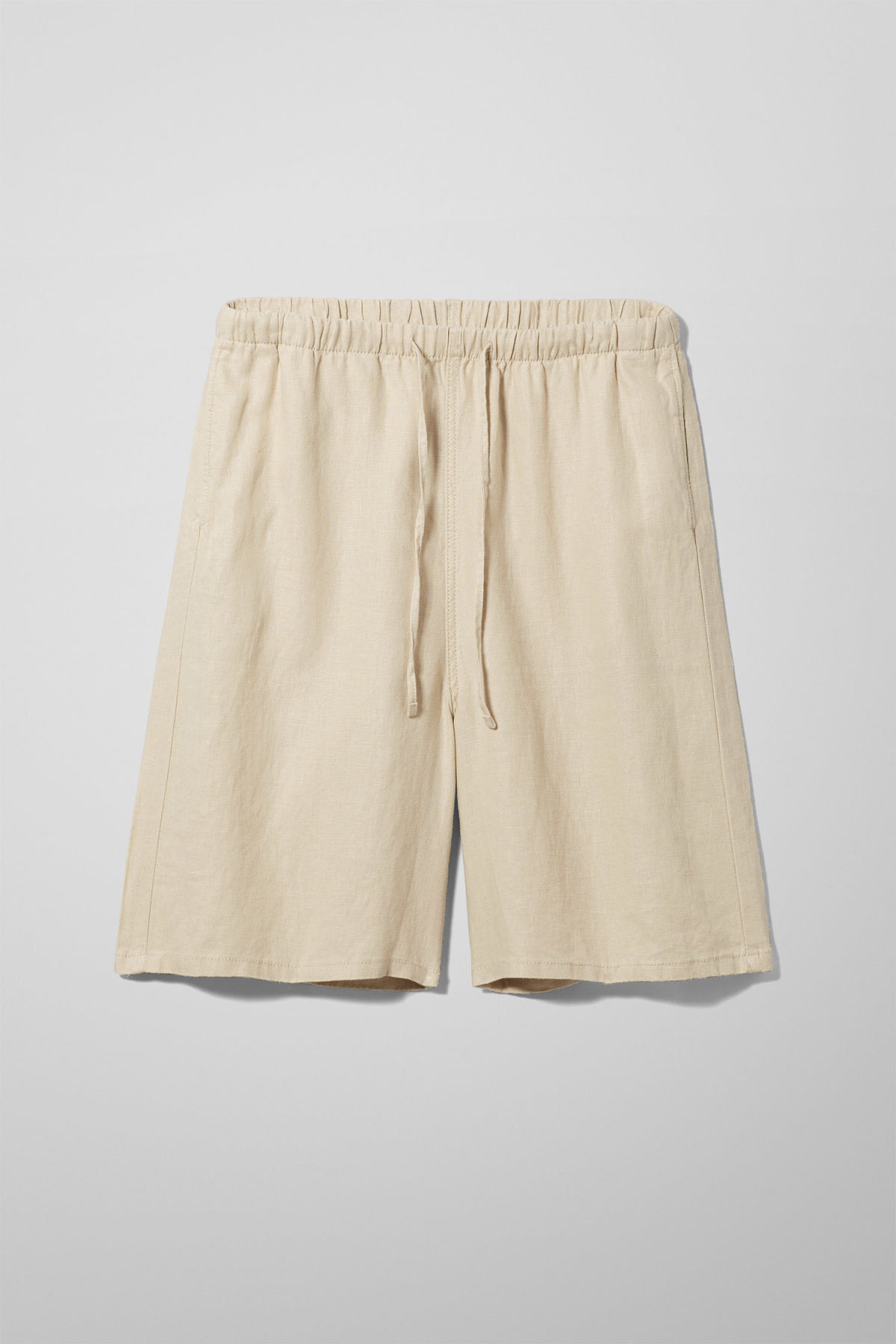 Front image of Weekday eskil linen shorts in beige