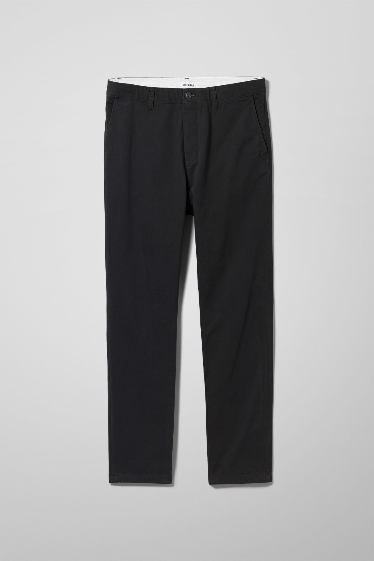 Front image of Weekday kaj chinos in black