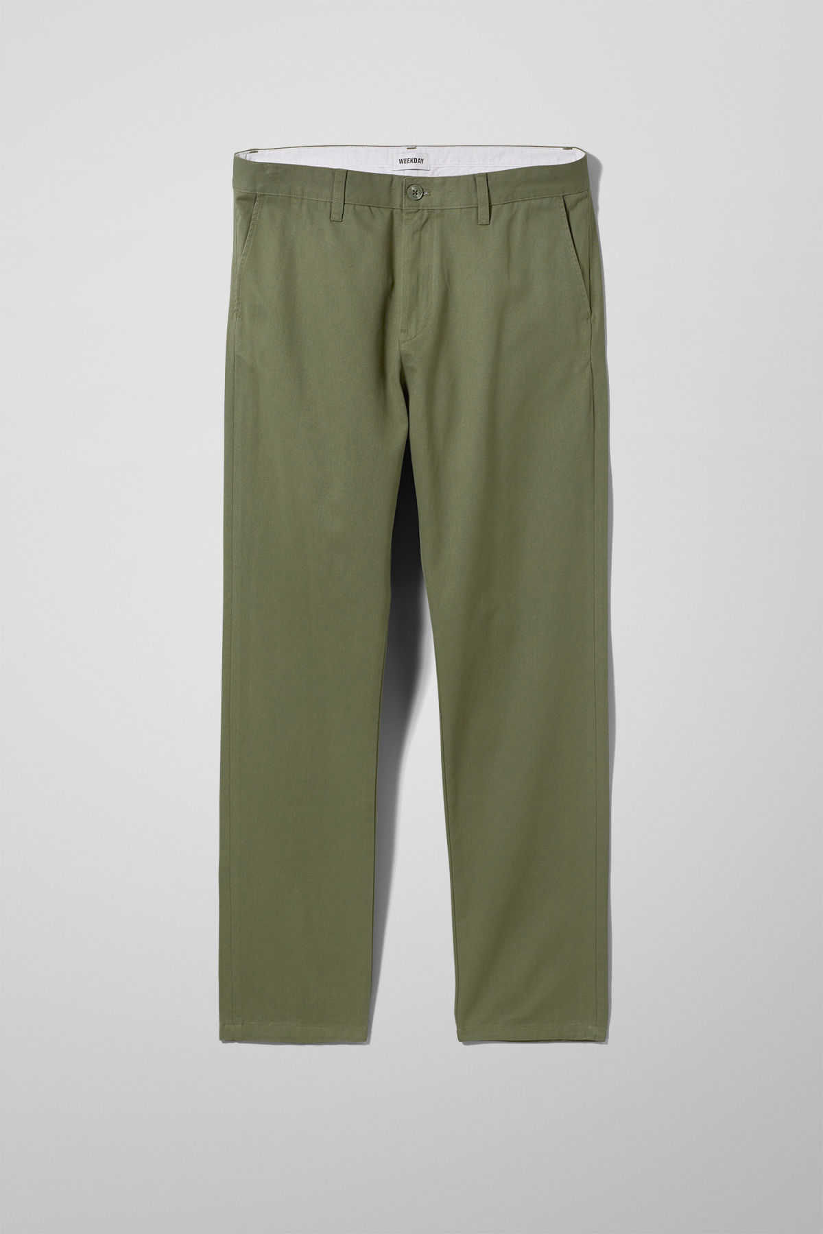 Front image of Weekday kaj chinos in green