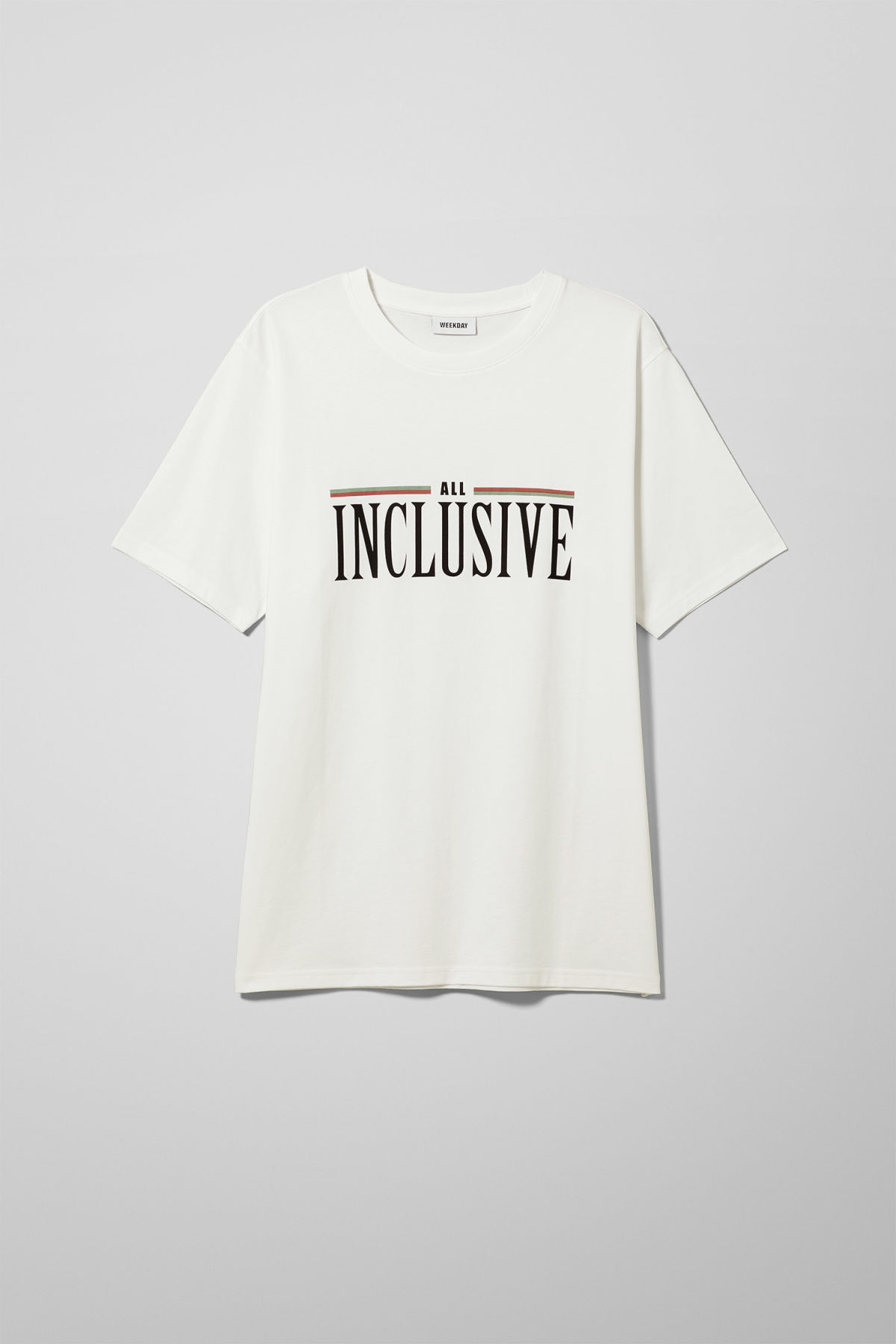 Front image of Weekday frank all inclusive t-shirt in white