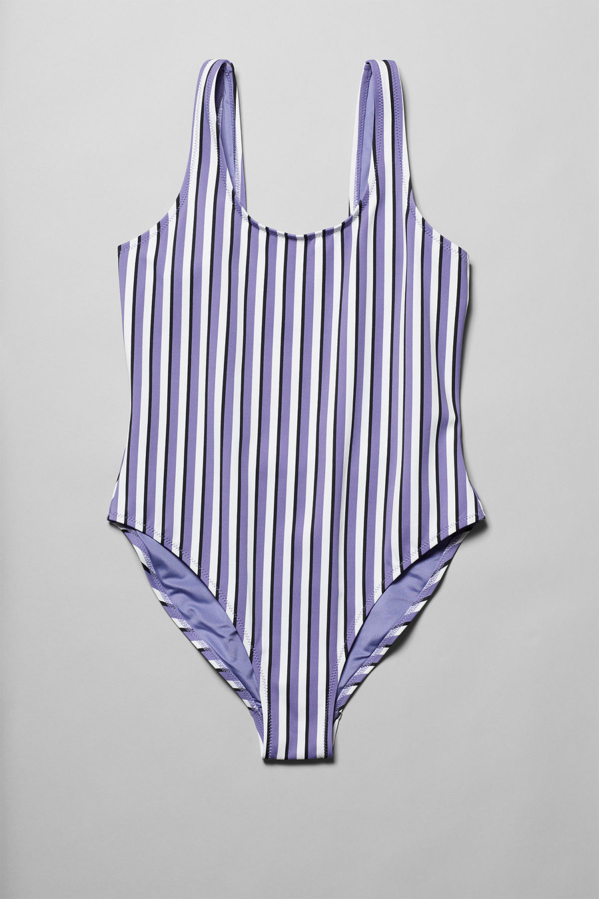 Front image of Weekday emerald stripe swimsuit in purple