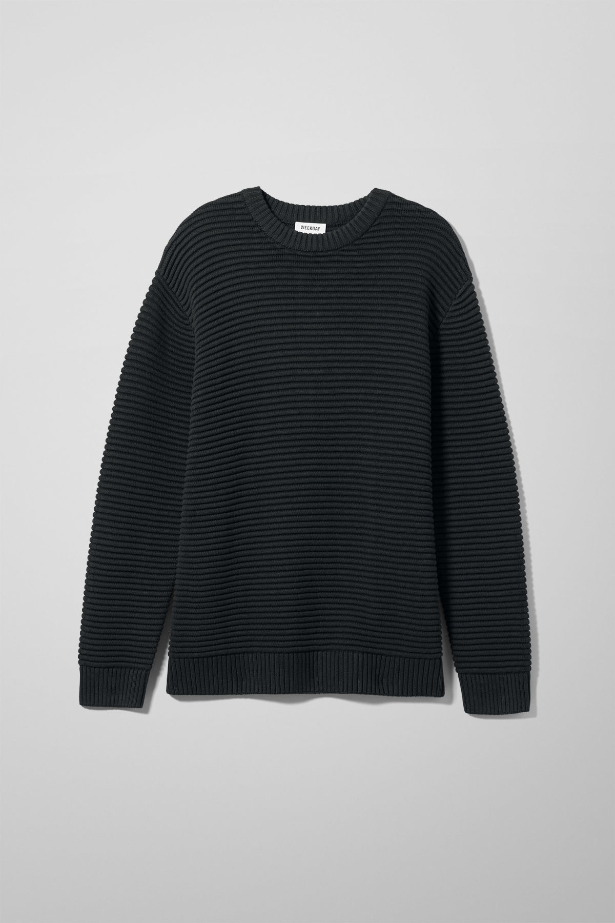 Front image of Weekday smyth waffle sweater  in black