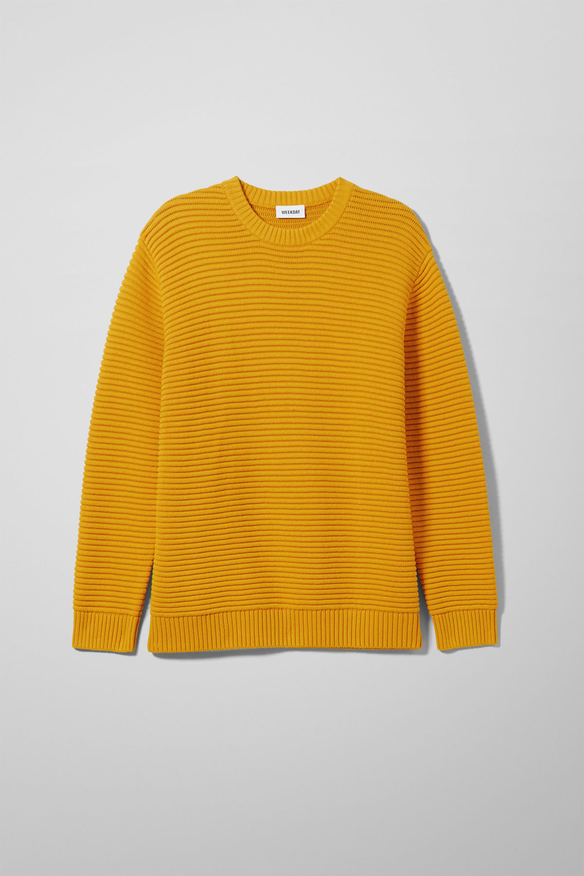 Front image of Weekday smyth waffle sweater  in yellow