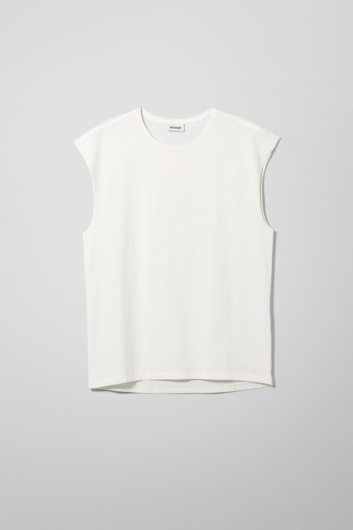 Front image of Weekday sly t-shirt in white