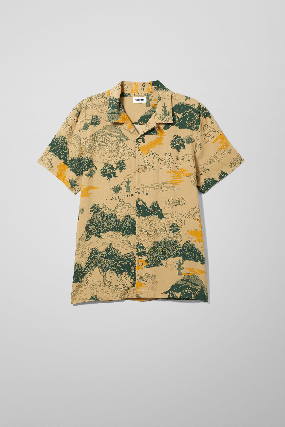 Front image of Weekday coffee desert map shirt in beige