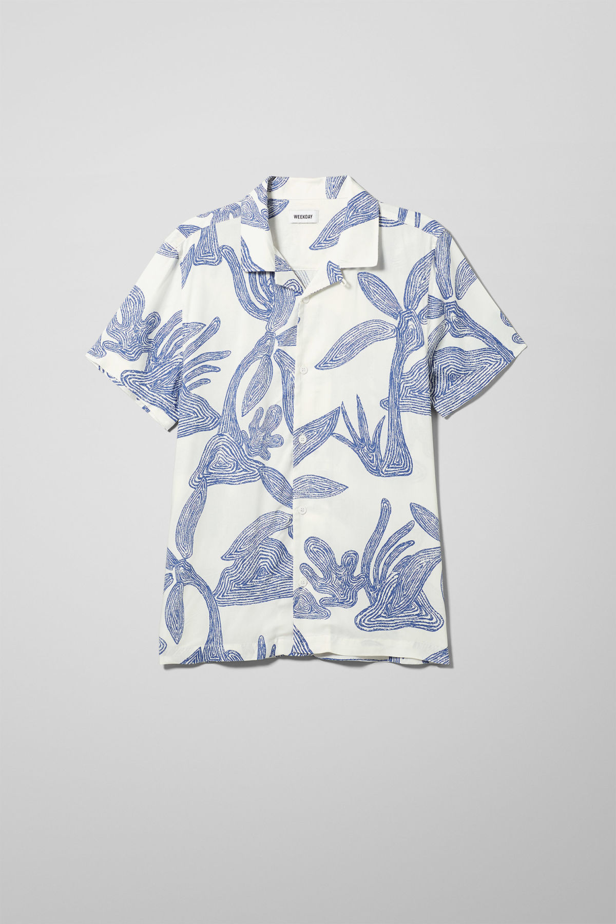 Front image of Weekday coffee scribble palm shirt  in white