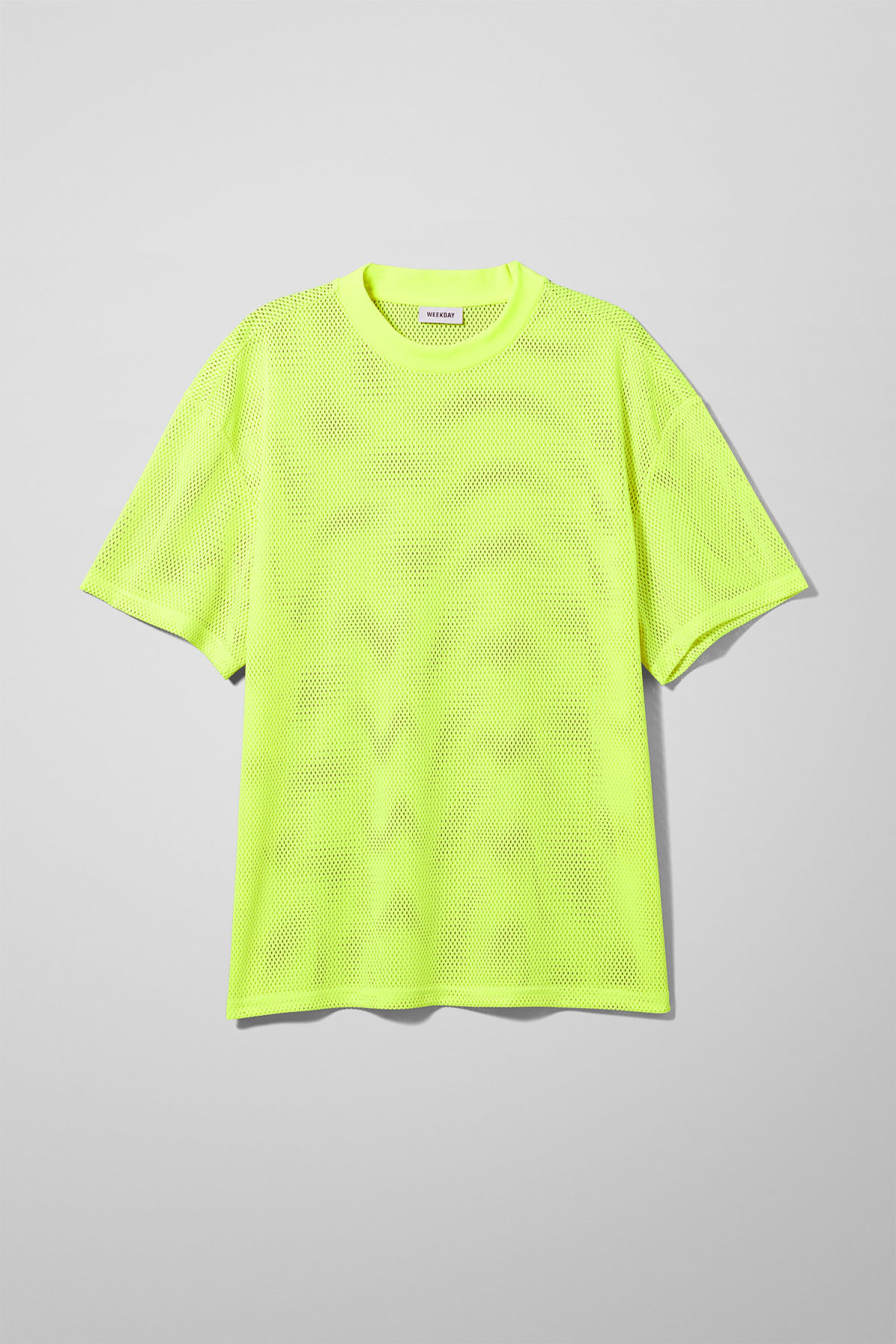 Front image of Weekday great mesh t-shirt in yellow