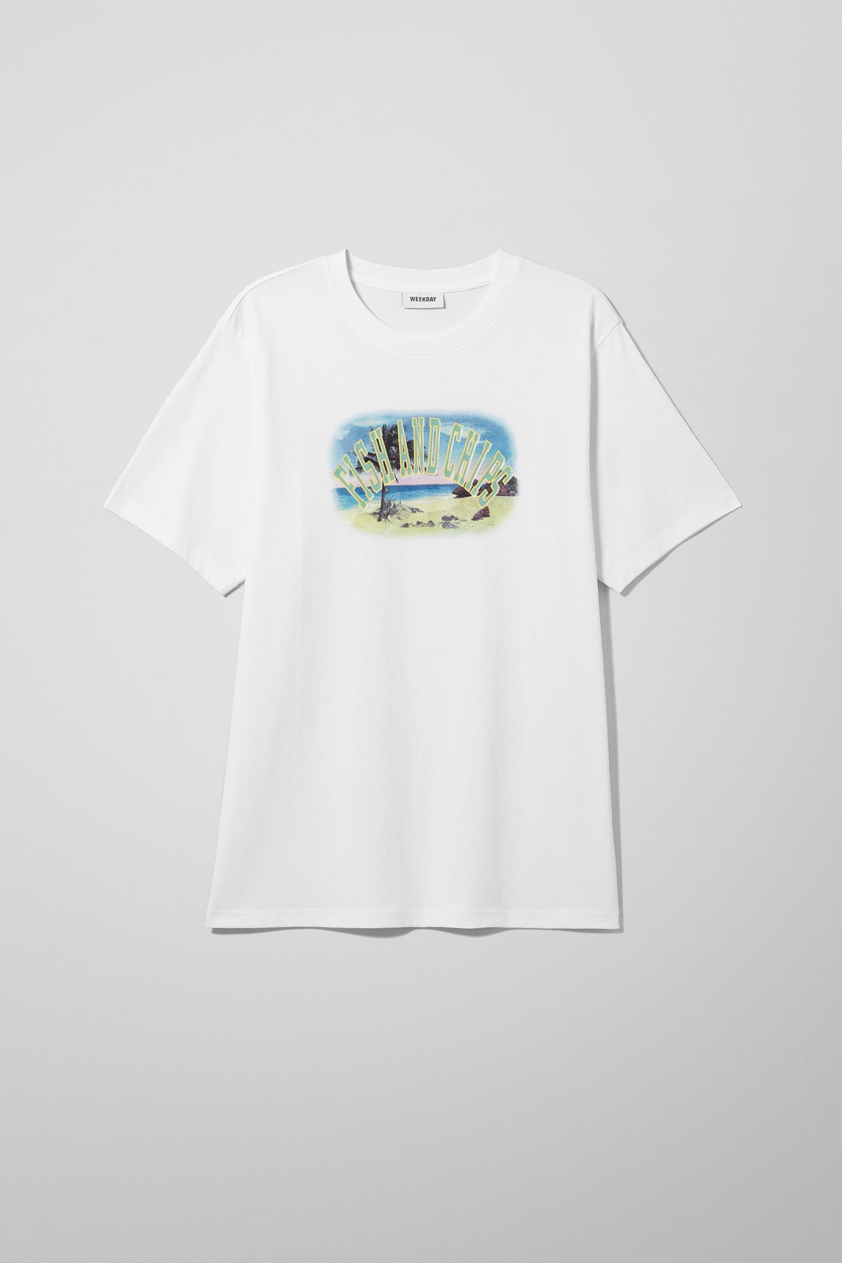 Front image of Weekday frank fish & chips t-shirt in white