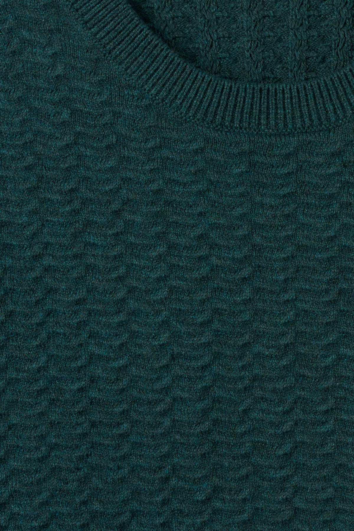 Detailed image of Weekday john knit sweater in turquoise