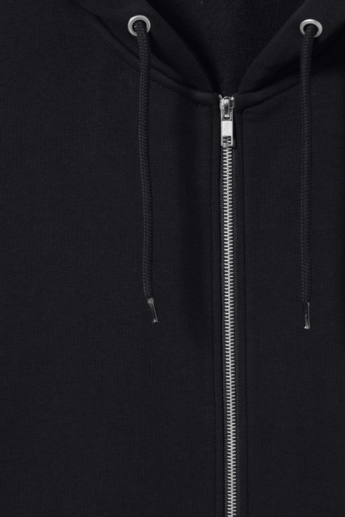 Detailed image of Weekday boom zipped hoodie in black