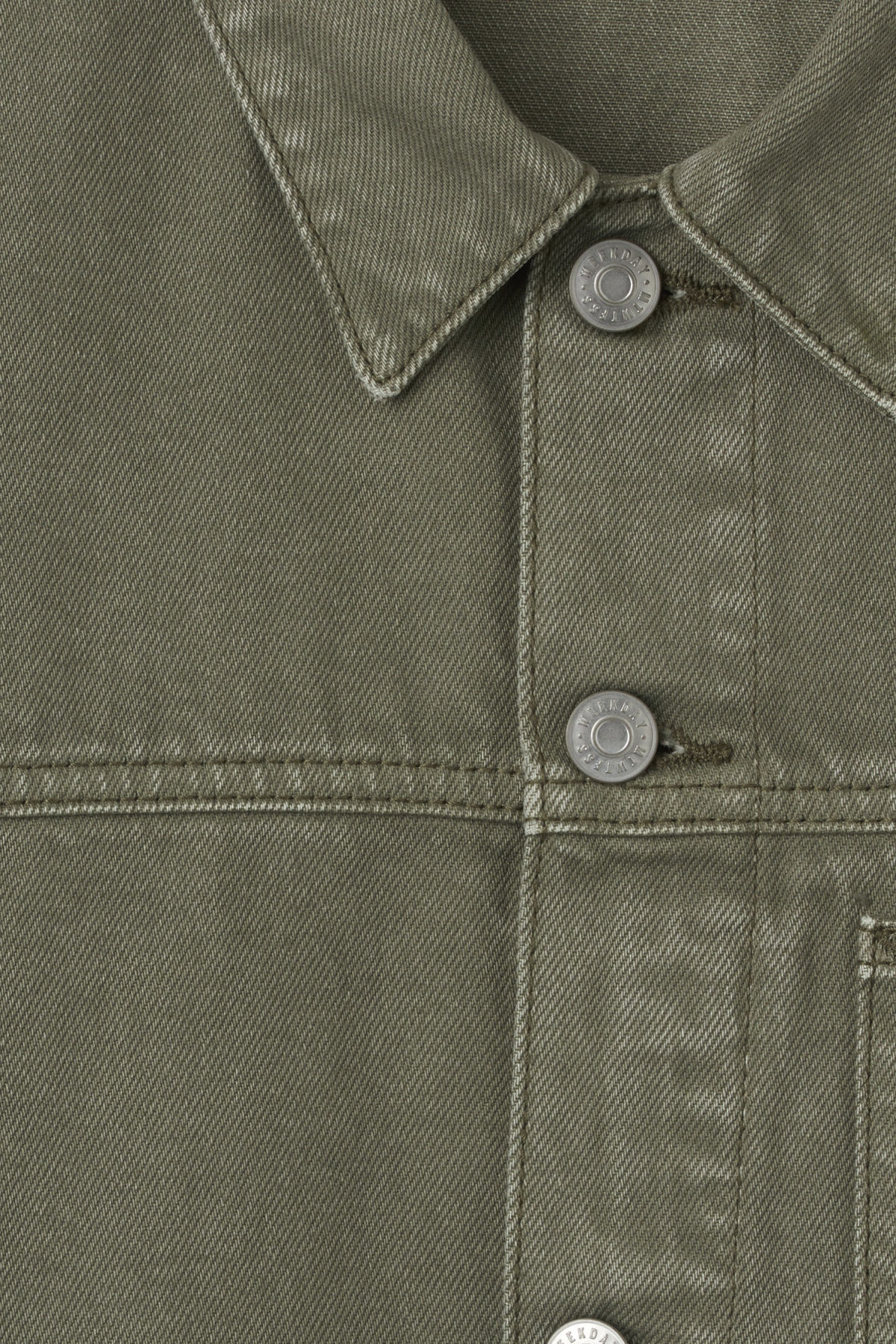 Detailed image of Weekday core denim jacket  in green