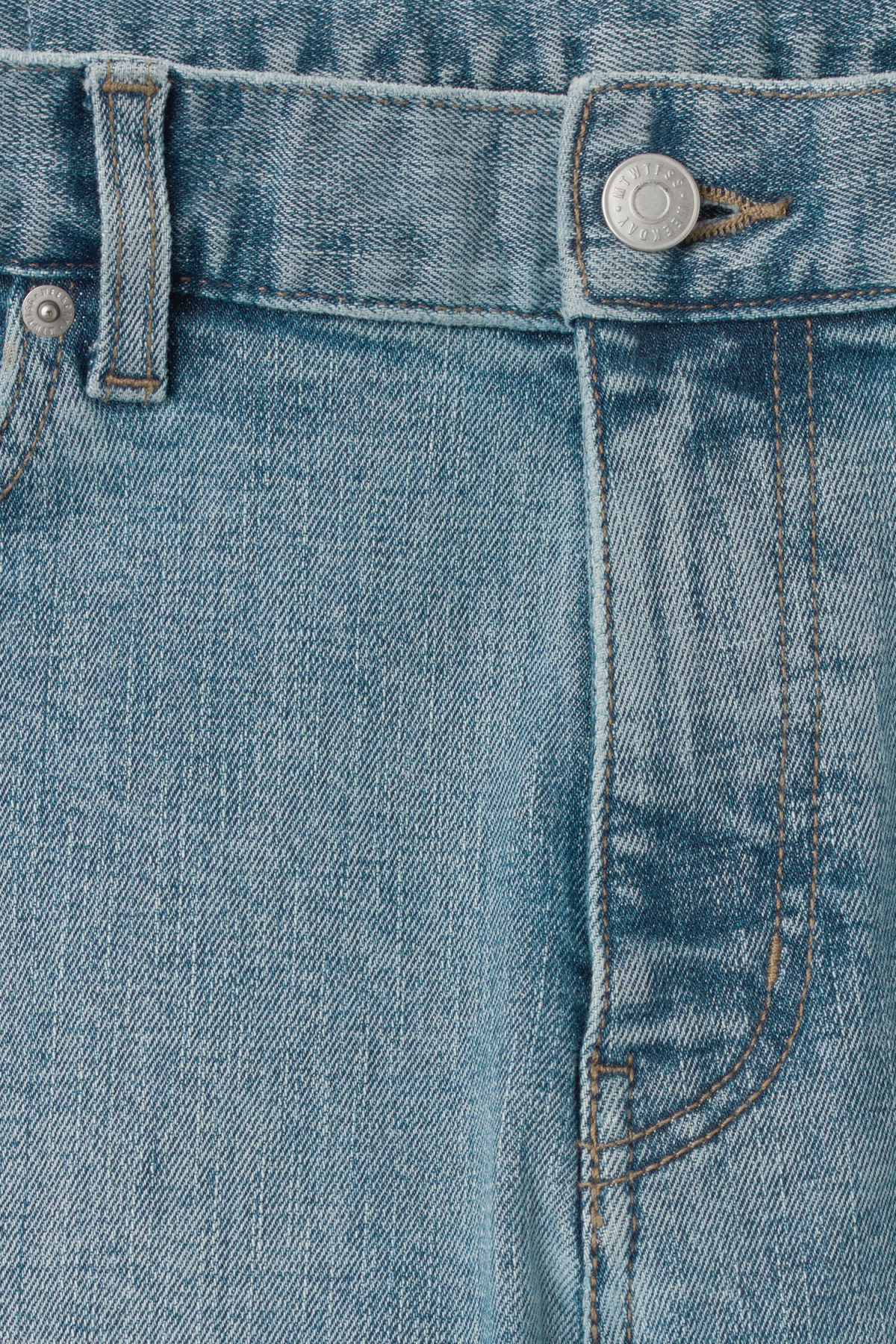Detailed image of Weekday form washed blue cut jeans in blue