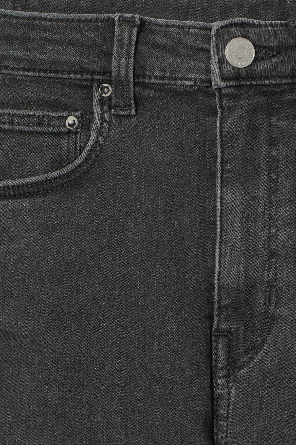 Detailed image of Weekday body high perfect black jeans in black