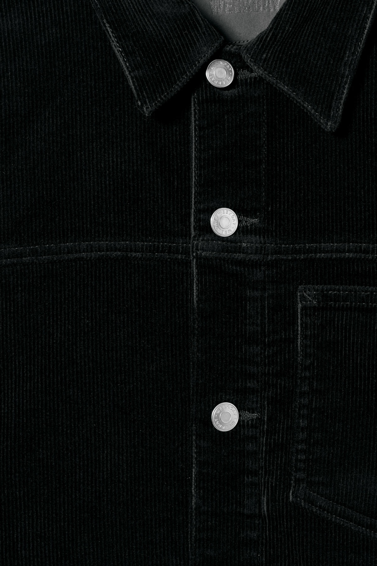 Detailed image of Weekday single corduroy jacket in black