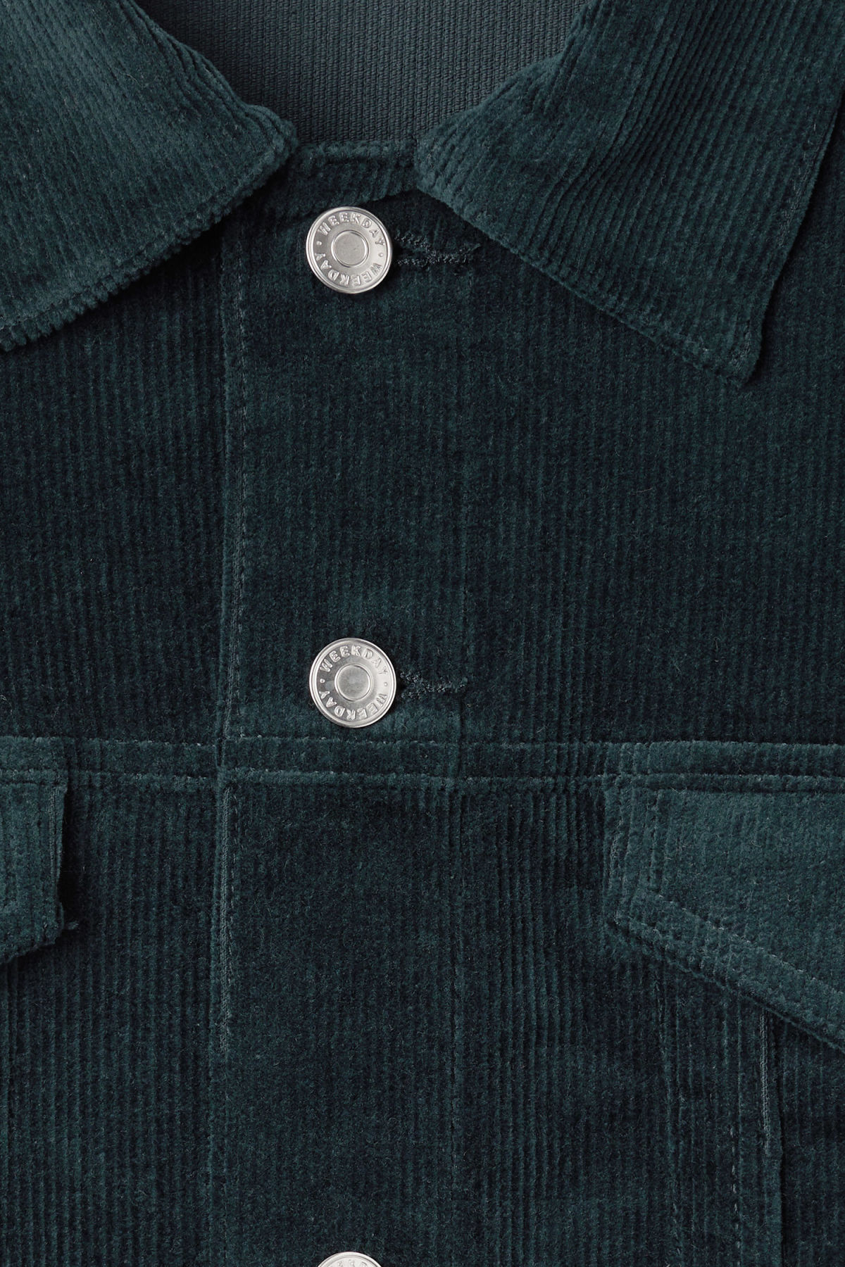 Detailed image of Weekday single corduroy jacket in turquoise