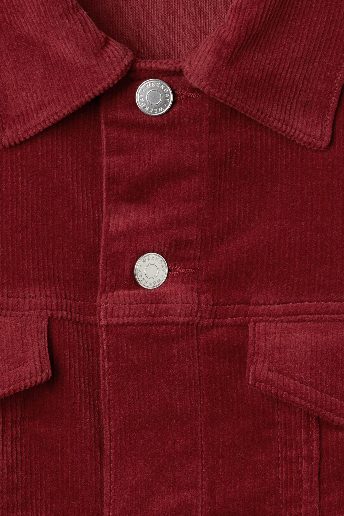 Detailed image of Weekday single corduroy jacket in red
