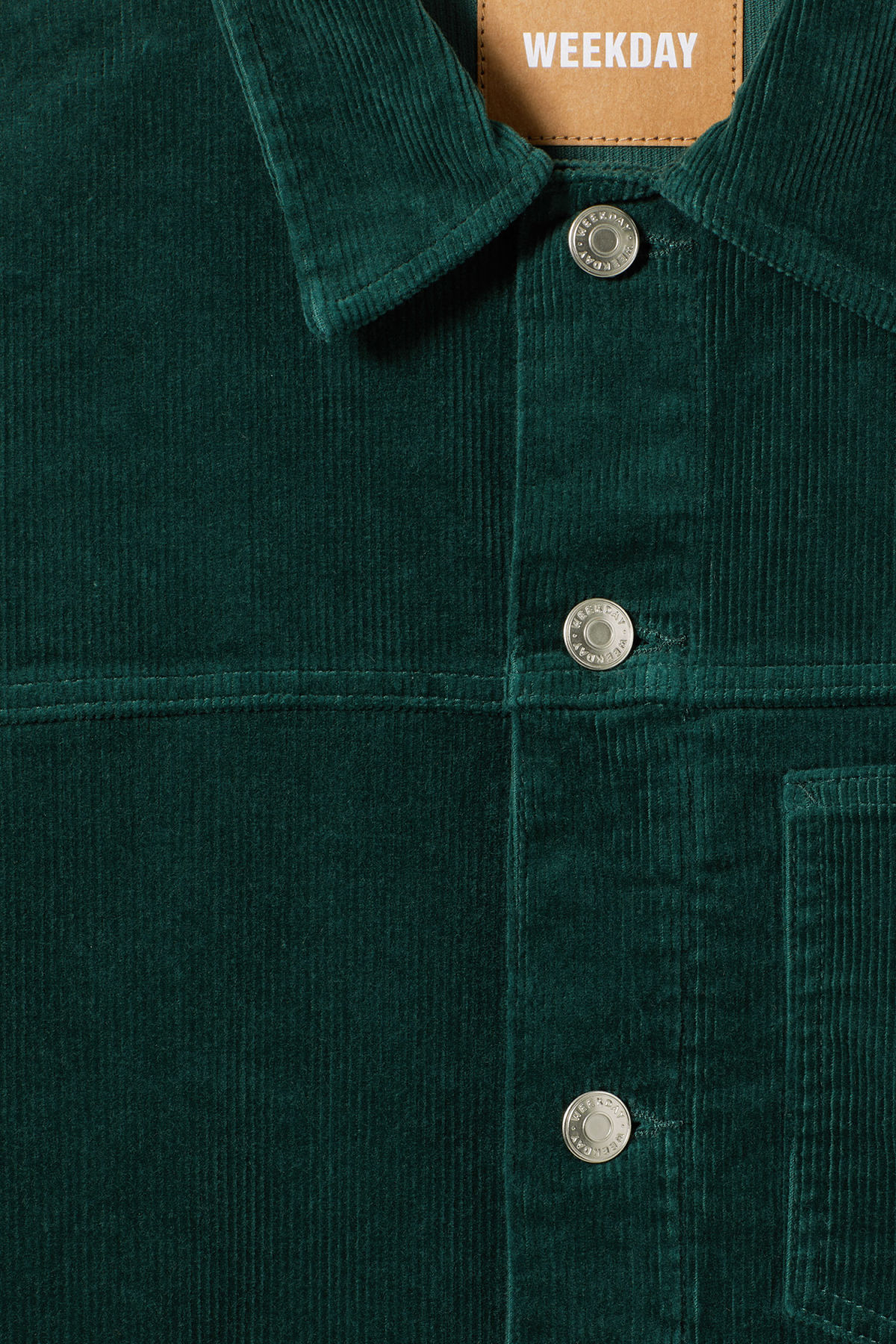 Detailed image of Weekday single corduroy jacket in green