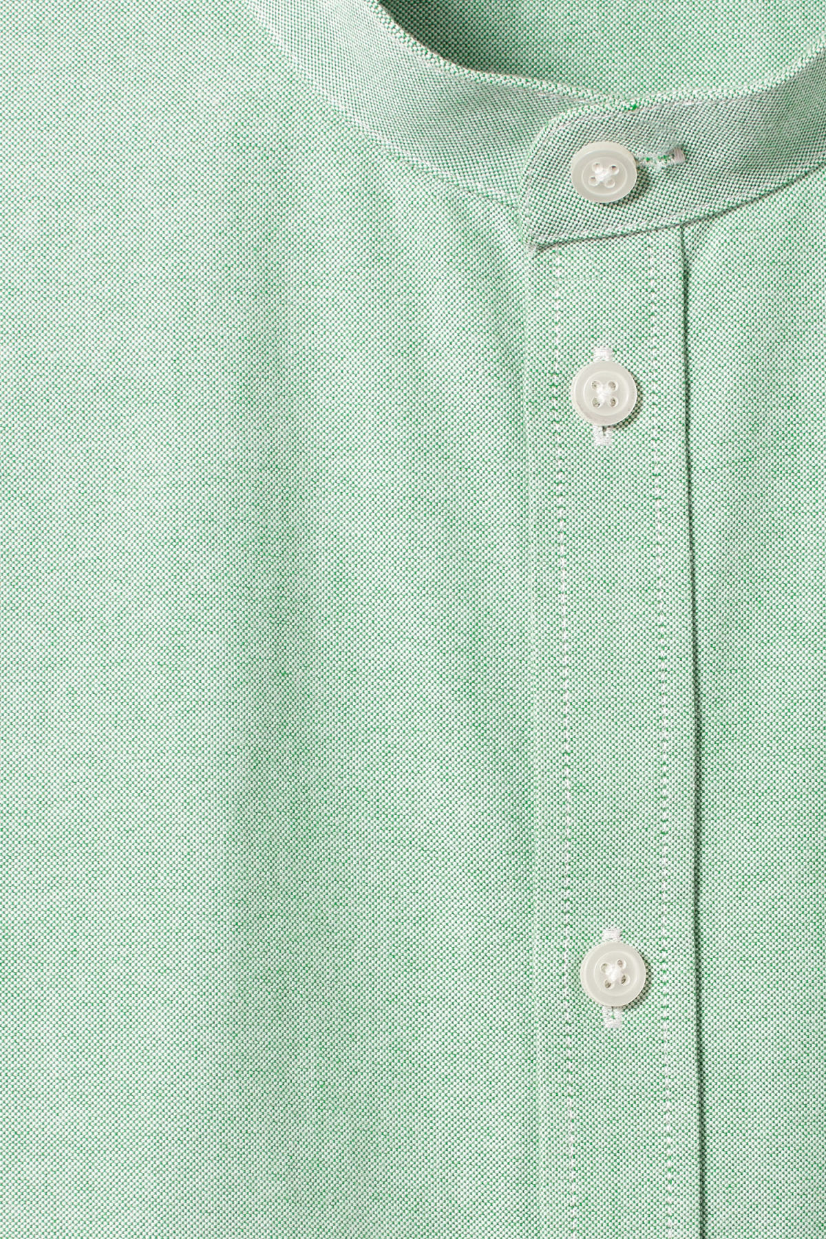 Detailed image of Weekday haring collarless shirt in green