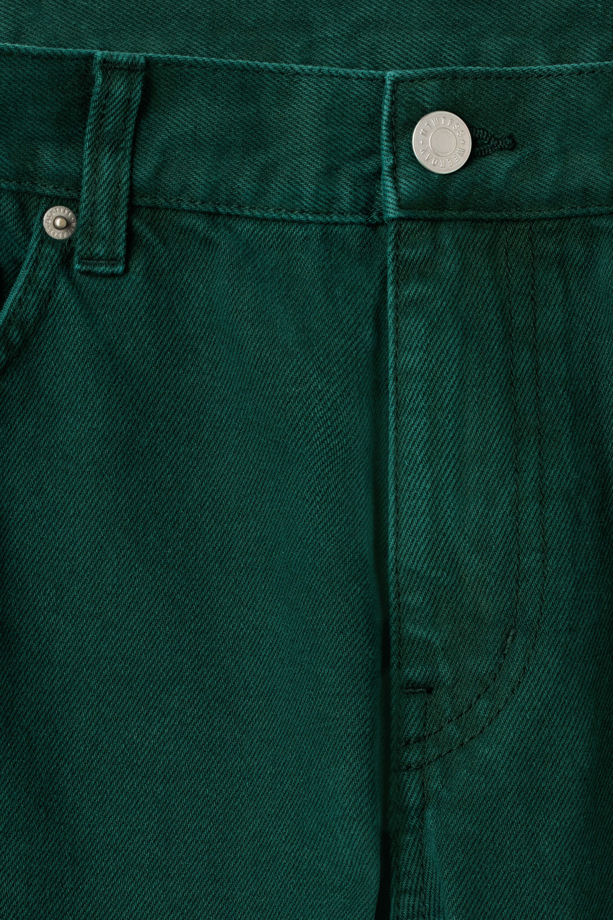 Detailed image of Weekday friday bottle green jeans in green